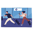 scene man and woman hurrying to flight vector image vector image