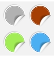 set colorful paper stickers on white background vector image