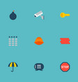 set of safety icons flat style symbols with bomb vector image