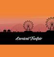 silhouette of carnival fun fair scenery vector image vector image