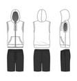 sleeveless hoody and shorts vector image vector image