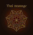 thai massage background with golden floral mandala vector image vector image