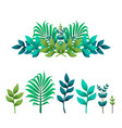 tropical leaves floral text dividers or borders vector image
