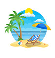 umbrella and sun lounger on beach vector image vector image