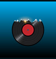 vinyl disk record in shape snow mountains with vector image vector image