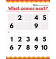 what number comes next math preschool or vector image