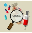 addictions drug addicts pills overdose vector image