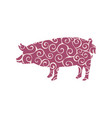 pig farm mammal color silhouette animal vector image