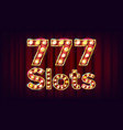777 slots banner casino vintage style vector image vector image