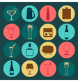 Alcohol drinks icons 16 flat icons set vector image vector image