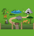 animals of zoo in cartoon style vector image vector image
