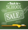 Back to school sale on the chalkboard with vector image vector image