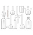 beakers test tubes and chemical flasks isolated vector image
