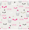 beautiful yummy cupcake seamless background vector image vector image
