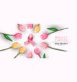breast cancer awareness banner pink tulip ribbon vector image vector image