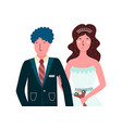 bride and groom happy couple isolated people in vector image