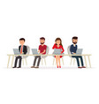 business people behind a desk working on a laptop vector image vector image
