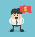 businessman holding a flag with a dollar symbol vector image