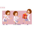 cartoon flat doctor kid girl character set vector image vector image