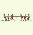 children playing tug war cartoon graphic vector image