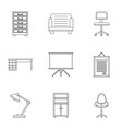comfort furniture icons set outline style vector image vector image