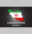 Coronavirus in iran and country flag inside