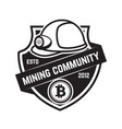 Cryptocurrency mining emblem isolated on white