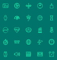 Design time green line icons vector image