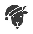 goat wearing santa hat silhouette icon design vector image vector image