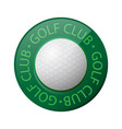 golf ball icon and golf club text isolated on vector image vector image