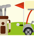 golf club car bag and red flag in the field vector image vector image