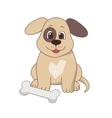 Happy dog with a bone vector image vector image