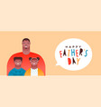 happy fathers day banner black dad and children vector image