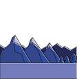 landscape natural peak mountains snow tree pine vector image vector image