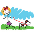 Little Girl and Dog Drawing vector image vector image