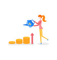 money profit growth concept girl and watering can vector image