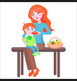 mother sits on bench and feeds baby with bottle vector image