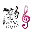 notes and treble clef set music design vector image vector image