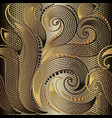 ornate gold floral line art tracery 3d seamless vector image vector image