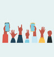people hands up on concert show vector image vector image