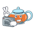photographer transparent teapot character cartoon vector image