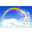 Rainbow and butterfly vector image vector image
