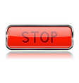 red square stop glass button with chrome frame vector image vector image