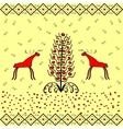 Reindeer near Christmas tree ornament ethnic vector image