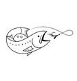 salmon fishing symbol drawing vector image