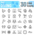 scuba diving line icon set underwater symbols vector image vector image