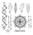 set flower ribbon mandala feathers boho vector image