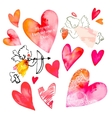 set hearts and cupids valentine day vector image