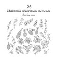 set of 25 christmas botanical symbols vector image vector image