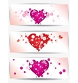 Set of cards with floral background and hearts